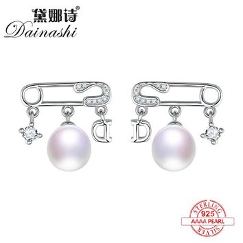 Dainashi 925 sterling silver pearl earrings letter lock and star pearl stud earrings fine jewelry for women engagement gift