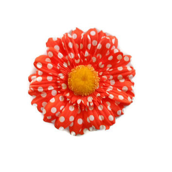 Orange flower hair clip - Fun funky accessories - Clown gear - bold beautiful neon orange - white polka dots - made by Sassy Shuga Boutique