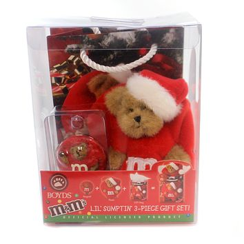 Boyds Bears Plush LIL' SUMPTIN' RED GIFT SET Fabric Set/3 M & M Ornament 919063