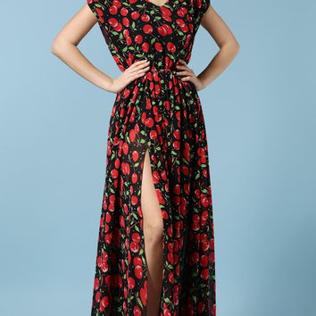 V Neck Appel Print Chiffon Short Sleeve A-line Pleated Maxi Slit Dress