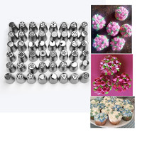 48PCS/SET Russian Tips Icing Piping Nozzles Pastry Tips Cake Decoration Stainless Steel