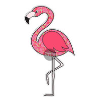Pink Flamingo Car Decal Sticker Cute Floral Pink Bumper Sticker Laptop Decal Wall Decal Tropical Colorful Flower Pattern Bird Beach Sticker