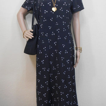 Early 80s, Fay's Closet, Very Dark Navy or Black, Maxi Flower Print Dress, Short Sleeves, Unlined, Zippered, Shoulder Pads, Size 9/10 Medium