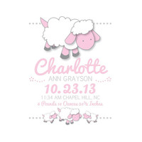 Birth Announcement Wall Art, Personalized Baby Shower Gift, Custom Kids, Lambs, Sheep, Nursery Decor, Kids Wall Art, Birth Stats, Baby Name
