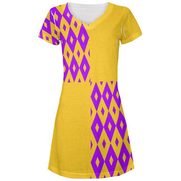 Mardi Gras Party Purple and Gold All Over Juniors V-Neck Dress