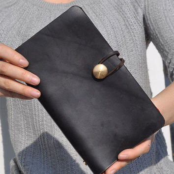 A6 Leather Journal Diary Notebook /loose-leaf notebook/ notepad/antiqued black leather