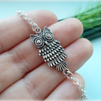 Sideways Owl Anklet - Silver Plated, Extendible