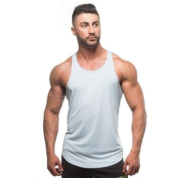 Men Tank Tops Solid Cotton Stringer Man Fitness Bodybuilding Tops Colorful Fashion Vest Male Clothing Casual Clothes Singlet
