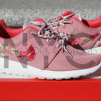 Ready to Ship - Women Size 6.5 - Nike Roshe One Run Geranium Pink Rose Bouquet Custom