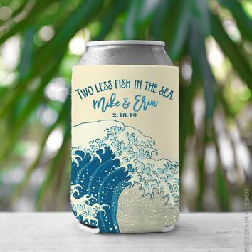 Custom Can Cooler, Wedding Favor - Two Less Fish in The Sea - Custom Names, Can Cooler, Drink Holder, Can Insulator, The Great Wave off Kanagawa