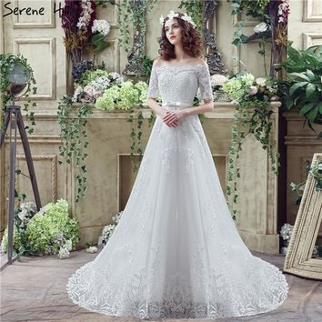 White Boat Neck Half Sleeves Wedding Dresses 2018 Fashion Sexy A-Line Lace Train Bridal Gowns Robe De Soiree