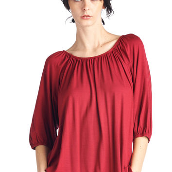 82 Days Women'S Rayon Span 3/4 Sleeves Boatneck Tunic or Off Shoulders - Solid
