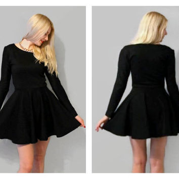 Long sleeves black skater dress, black circle dress, skater dress, black dress, little black dress, white skater dress.
