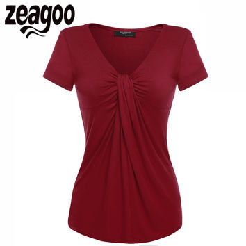 Zeagoo Women V-Neck Short Sleeve T-Shirt Solid Casual Lady Summer Tee Tops Twist Knot Front T shirt Tees Top 5 Colors S M L XL