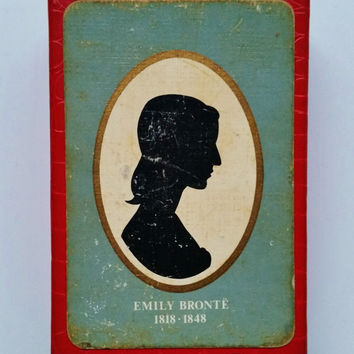 Emily Bronte Playing Cards, Vintage Boxed Waddingtons Fine Playing Cards with Silhouette of Emily Bronte, Full Pack in Original Box