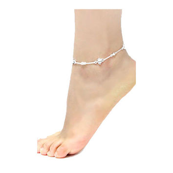 Silver Turtle & Clear Crystal Anklet