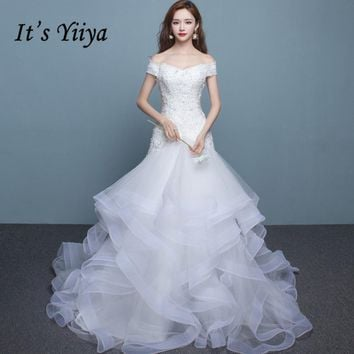 It's Yiiya 2017 Popular Off White Sleeveless Boat Neck Bride Gowns Mermaid Vintage Bling Sequined Lace Wedding Dress X007