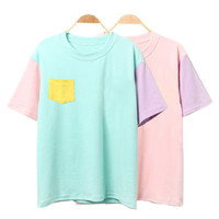 2016 Summer Style Fashion Women Harajuku Patchwork T Shirts Kawaii Cotton Short Sleeve Casual Tee Ladies Cute Tops 3SHWT007