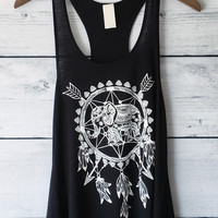 Boho Elephant and Dreamcatcher Tank top in Black