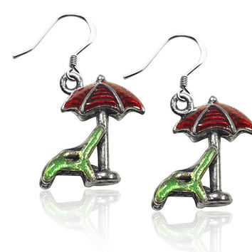 Beach Chair w/Umbrella Charm Earrings in Silver