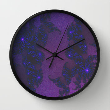 Starbursts in the Night Wall Clock by Angela Mayotte