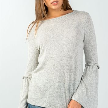 Ladies fashion grey comfy ruffle detail at elbow long bell sleeves top