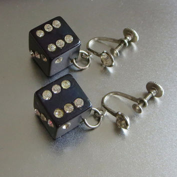 Vintage Dice Earrings Black Bakelite Plastic & Rhinestone Lucky Dice Earrings Fun Retro 1940s
