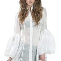 White Extreme Puff Bell Sleeve Tunic Top