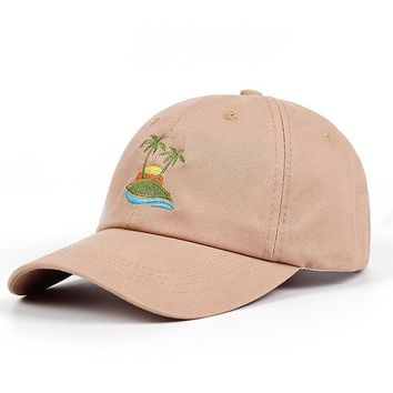 Trendy Winter Jacket 2018 new Embroidery Palm Trees Curved Dad Hat Beach sunrise A holiday Baseball Cap Coconut Trees Hat Strapback Hip Hop Cap Golf AT_92_12