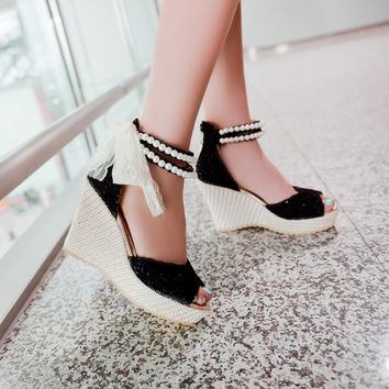 Fashion Wedge High Heel Ankle Strap Black PU Sandals