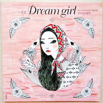 96 Pages Korea Dream Girl Coloring Book for Children Adults Relieve Stress Fashion Painting Drawing antistress Colouring Books