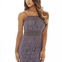 Grey Sexy Strap Hollow Out Lace Design Mini Dress