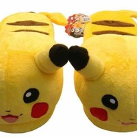 "Nintendo Pokemon Pikachu 11"" Adult Unisex Soft Plush Slipper 1 Pair"