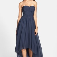 JS Boutique Strapless Ruched Chiffon Dress