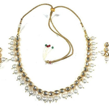 Choker Necklace Set Jewelry Set White Pearl Polki Kundan ~ Reversible