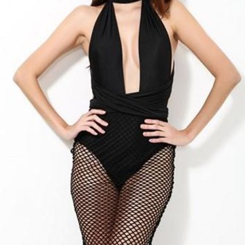 Blame Game Black Fishnet Mesh Sleeveless Plunge V Neck Convertible Backless Halter Midi Dress