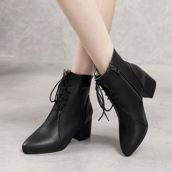 Pointed Toe Side Zipper Lace Up Solid Color Short Boots