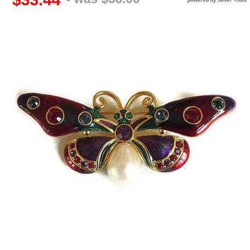 SALE Signed Joan Rivers Poured Stained Glass Enamel, Rhinestones & Pearl Butterfly Brooch Vintage