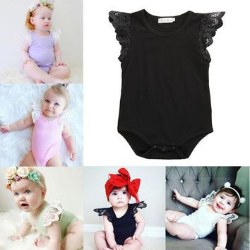 Lace Sleeve O-Neck Romper for Newborn & Toddler Girls
