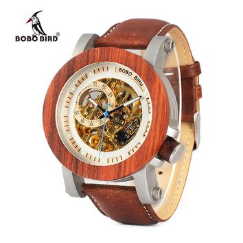 BOBO BIRD WK12 Red Sandalwood&Steel Exposed Mechanical Watch Vintage Bronze Skeleton Clock Male Antique Steampunk Automatic