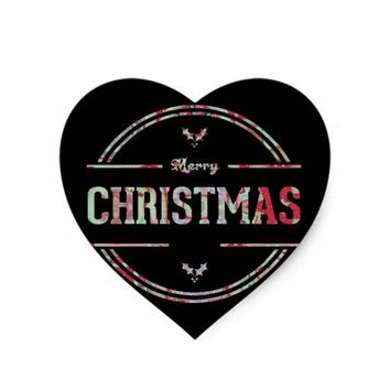 Merry Christmas Greeting Heart Sticker