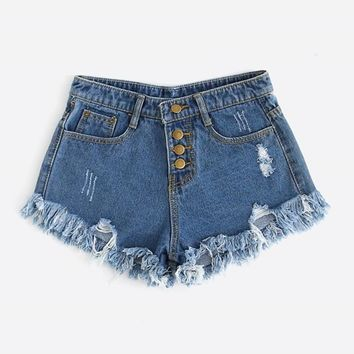Fashion  Ripped Raw Hem Mid Waist Shorts Women Button Fly Denim Plain Shorts