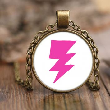 Pink Lightning Bolt Necklace