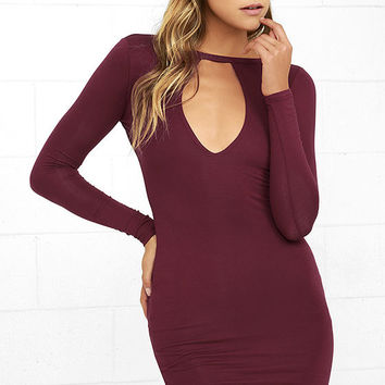 Here to Party Wine Red Long Sleeve Bodycon Dress