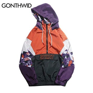 Trendy GONTHWID Hip Hop Color Block Patchwork Embroidery Half Zip Hooded Jackets 2018 Autumn Men Casual Pullover Hoodie Coat Streetwear AT_94_13