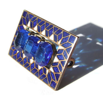 Vintage glass and cloisonné enamel brooch, cobalt blue / royal blue and white, Art Deco, 1930s. #261.