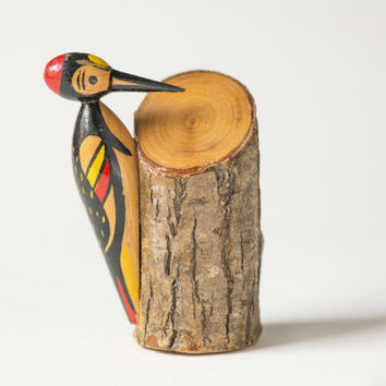 Vintage woodpecker figurine, woodpecker small hand painted, forest bird souvenir Soviet, primitive art woodpecker home decor fun gift