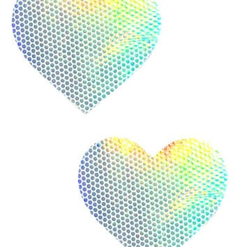 Silver Holographic Heart Pasties