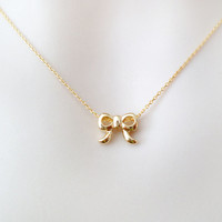 Tiny, bow, necklace, small, bow, necklace, dainty, subtle, cute, simple, minimalist, minimal, bridesmaid, flower, girl, jewelry, gold
