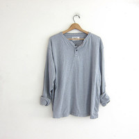 vintage gray long sleeve henley top. grunge look shirt / men's size 2XL